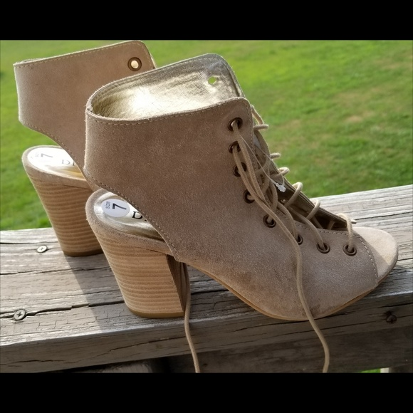 6a94295799 Diba Shoes | True Leather Tie Up Booties Open Toe Heels | Poshmark